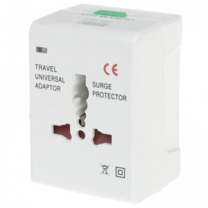 Universal World Travel Power Adapter with USB Power Port - White