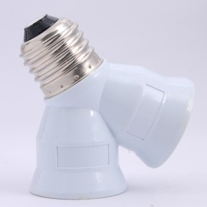E27 (2 Light Bulbs)Lamp Converter White
