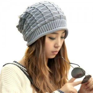 Women Girl Triangle Pattern Slouchy Knit Beret Beanie Crochet Rib Hat Cap Warm Gray, one size fits most