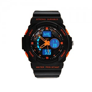 LanLan Fashion Multi Function Waterproof Digital LCD Alarm Date Mens Military Sport Wrist LED Watch Orange