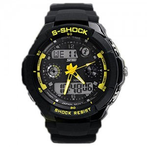 Susenstore Multi Function Military S-shock Sports Watch LED Analog Digital Waterproof Alarm (Yellow)