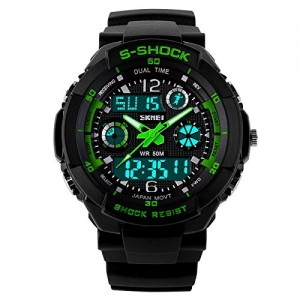 Bessky Waterproof Multi Function Military Sports Watch LED Digital Analog Alarm (Green)