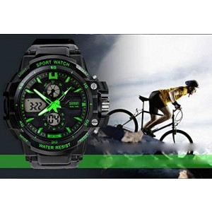 LanLan 0990 3ATM Water Resistant Digital & Analog Sports Watch with Soft Plastic Strap Green