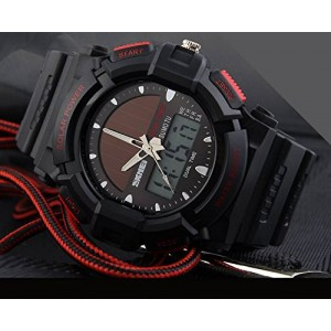 LanLan Fashion Electronic Double Display Waterproof Outdoor Sports Watch red