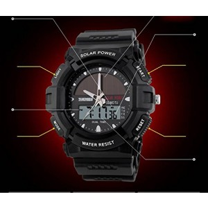 LanLan Fashion Electronic Double Display Waterproof Outdoor Sports Watch black