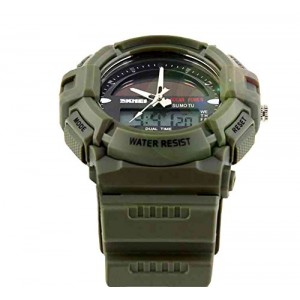 LanLan Fashion Electronic Double Display Waterproof Outdoor Sports Watch green