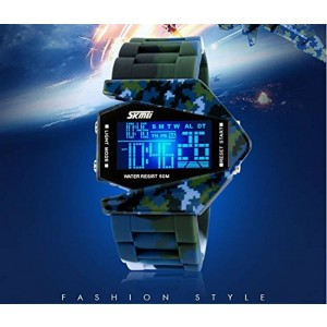 LanLan Sport Water-proof Stealth Fighter Style Wrist Watches Colorful Light Digital with Military Cool LED Display Silicone Strap Watches Random color