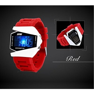 LanLan Sport Water-proof Stealth Fighter Style Wrist Watches Colorful Light Digital with Military Cool LED Display Silicone Strap Watches red