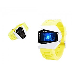 Generic Sport Water-proof Stealth Fighter Style Wrist Watches Colorful Light Digital with Military Cool LED Display Silicone Strap Watches yellow