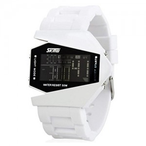 SKMEI Men's Fighter Style Multifunctional Digital Colorful LED Light Wrist Watch - White