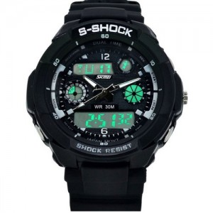 Fashion Led Light Calendar Waterproof&shockproof Men Digital Electronic Outdoor Wrist Sport Watch-4 LED Colors