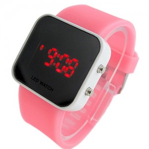 YouYouPifa Unisex Rubber Band Mirror LED Digital Sport Wrist Watch (Pink & White)
