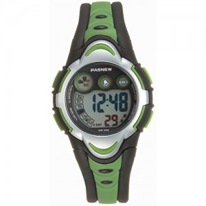 Pasnew LED Waterproof Sports Digital Watch for Children Girls Boys (Green)pse-276g