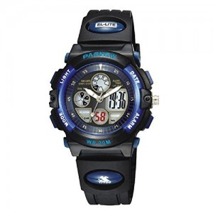 PASNEW Boys Girls Waterproof Sport Digital Watch Dual Time Display - Blue