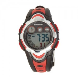 Pasnew LED Waterproof Sports Digital Watch for Children Girls Boys (Red) Pse-276r
