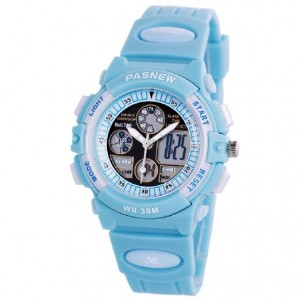 PASNEW Boys Girls Waterproof Sport Digital Watch Dual Time Display - Azure