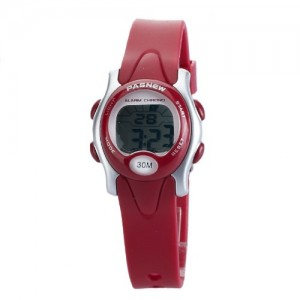 Pasnew Cute Digital Sport Waterproof Wrist Watch with Alarm Stopwatch for Kids Girls Boys (Red) Pse-239r
