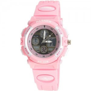 Digital-analog Dual Time Sports Wrist Watch for Girls (Pink)