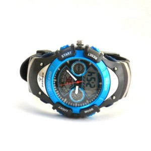 PASNEW ANA-DIGI EL-Backlight Shockproof Anti-Magnetic Water-Resistant-30M Dual-Time Boys Girls Sport Watch #308A (Blue-black)