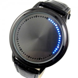 Elegant Blue Hybrid Touch Screen LED Watch , with 60 Blue LED Lights, High Class Design, Leather Band, Support Touchscreen