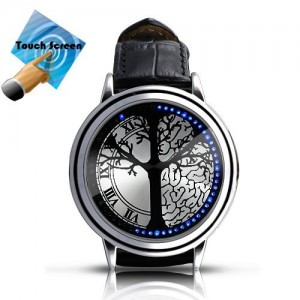 Stainless Steel Material Elegant Design Blue Hybrid Touch Screen LED Watch , With 60 Blue LED Lights, High Class Design, Leather Band, Support Touchscreen