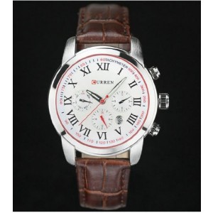 CURREN Creative Three Sub-dials Quartz Wristwatch for Man Boy 5013 White