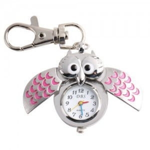 YESURPRISE Silver Pendant Pocket Key Ring Cool Pink Owl Quartz Watch