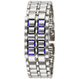 Silver Metal Band Mens Iron Samurai Style Lava Digital Sport Watch Faceless Blue LED-SLBL