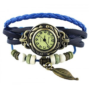 6 Color Quartz Fashion Weave Wrap Around Leather Bracelet Lady Woman Wrist Watch (Blue)