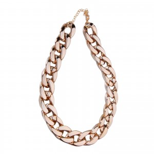 Fashion Shiny Cut Light Gold-tone Link Chain Choker Necklace Chunky Curb Punk