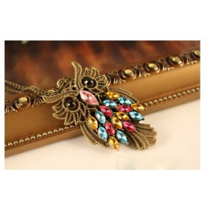 Retro Alloy with Colour Crystal Owl Long Pendant Bronze Necklace