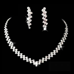 Bridal Wedding Pageant Jewelry Rhinestone Necklace Earring Set