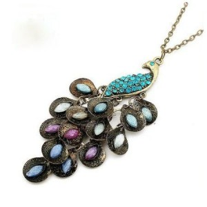 Colour Restoring Ancient Ways Peacock Necklace with Color Crystal Paved