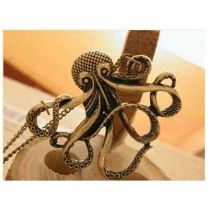 LuckySupply Vintage Steampunk Nautical Style Antiqued Bronze Octopus Necklace 28 inch Long Chain