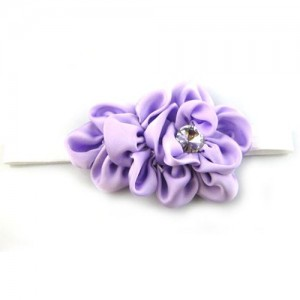 Baby Girls Chiffon Headband Hairbow Head Flower Floral Hairband Photography Prop(Purple)