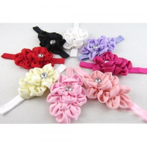 Baby Girls Chiffon Headband Hairbow Head Flower Floral Hairband Photography Prop(Red)