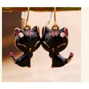 ER-BLKCAT Black Kate Marie Fashion Earrings Black Cat Design Embellished with Beautiful Rhinestone by Dragonpad