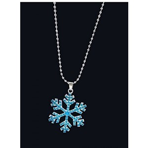 DragonPad Sterling Silver Snowflake Pendant - Necklace with Blue and White Swarovski Crystals