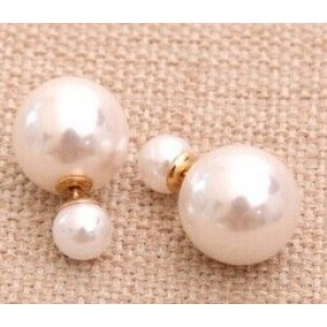 Colorful Double-faced Pearl Double Pearl Beads Plug Stud Earrings WHS541 (7-Pearl)