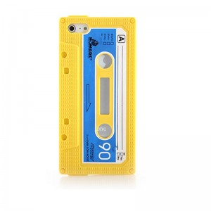 Retro Cassette Tape Silicone Case for iPhone 5 (Yellow)