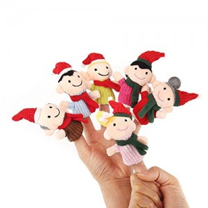 Finger Puppets Finger toys,Danibos 6pcs Christmas Set family set Soft Plush Family Puppets Baby Stories Helper, Finger Puppets Finger Toys Set ,Christmas Gift for kids(finger toy family)