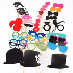 44 Pieces/set Wedding Novelty Mustache Mask Bowknots Lips Hearts Photographing Props by Kitty-Party Christmas Party Novelty Props by Kitty-Party