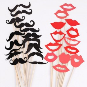 Colorful Props On A Stick Mustache Photo Booth Party Fun Wedding Christmas Birthday Favor (50PCS Colorful Props)