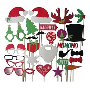 28pc Photo Booth Christmas Party Accessories Antlers Hat Mustache on a Stick Fun Wedding Birthday Favor Creative Interesting Props