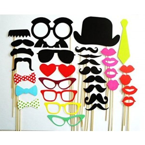 32 Pieces/set New Year Party Novelty Mustache Mask Photographing Props by Kitty-Party Wedding Supplies Creative Funny Props by Kitty-Party