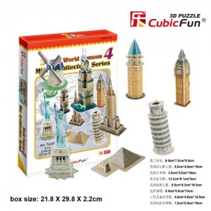 Cubic Fun Mini Architecture Series 4, 60 Pieces