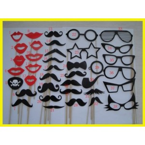 Colorful Props On A Stick Mustache Photo Booth Party Fun Wedding Christmas Birthday Favor (38PCS Colorful Props)