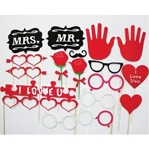 18 Pieces/set New Year Welcome Party Wedding Party Novelty Hearts Love Photographing Props by Kitty-Party Party Funny Cute Props by Kitty-Party
