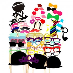 58PCS Colorful Props On A Stick Mustache Photo Booth Party Fun Wedding Favor Christmas Birthday Favor