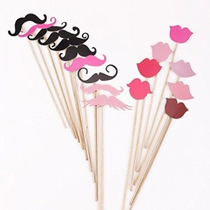 51 Pieces/set Creative Wedding Novelty Mustache Lips Glasses Mask Photographs Props by Kitty-Party